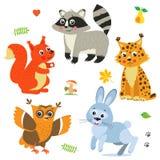 Paquet d'animaux de bébé de bande dessinée Ensemble mignon de vecteur Images stock