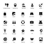 Paquet d'icônes de Glyph d'océan et de vie marine illustration de vecteur