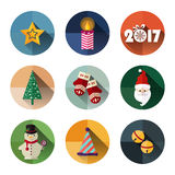 Paquet d'icône de nouvelle année, conception plate de style avec la longue ombre Photo stock