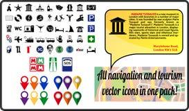 Paquet d'icônes de navigation de vecteur pour le voyage et le tou Photo stock
