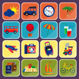 Paquet d'icônes de voyage et de tourisme Images libres de droits