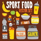 Paquet d'illustration de vecteur d'objets de nutrition de nourriture de sport de style de bande dessinée Photographie stock