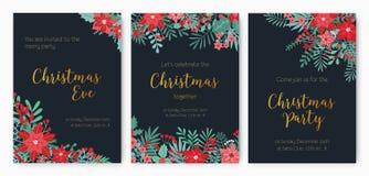 Paquet d'invitation d'Eve Party de Noël, d'annonce de fête d'événement ou de calibres promotionnels d'insecte décorés du rouge illustration libre de droits