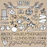 Paquet d'objets de tatouage de vieille école Images libres de droits