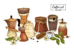 Paquet d'outils pour le brassage de café - le pot de moka, le cezve turc, bouilloire avec le long bec, verre versent au-dessus du Photos stock