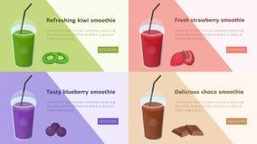 Paquet de bannières horizontales colorées de Web avec des smoothies faits de fruits tropicaux, baies et chocolat Boissons savoure illustration libre de droits