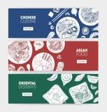 Paquet de bannières horizontales monochromes de Web avec les repas asiatiques de cuisine se trouvant des plats tirés par la main  illustration stock
