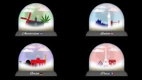 Paquet de boules de neige des capitales en Europe en Alpha Channel illustration de vecteur
