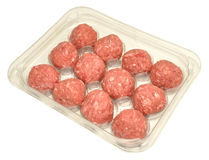 Paquet de boulettes de viande crues Photos stock
