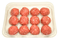 Paquet de boulettes de viande crues Photo libre de droits