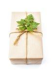 Paquet de cadeau enveloppé avec le papier et la corde avec une feuille Photographie stock libre de droits