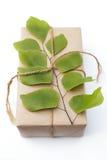 Paquet de cadeau enveloppé avec le papier et la corde avec une feuille Image stock