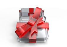 paquet de cadeau enveloppé par ruban Image stock