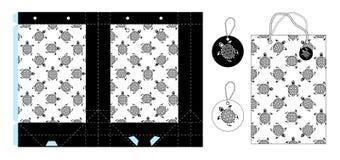 Paquet de cadeau de papier de calibre Fond sans couture avec la stylistique illustration libre de droits