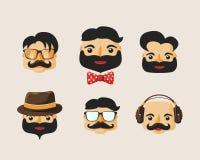Paquet de caractères de hippie avec des émotions faciales Image stock