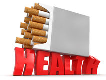 Paquet de cigarette et santé (chemin de coupure inclus) Photos stock