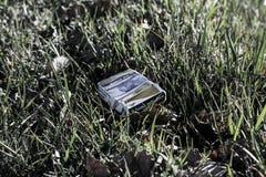 Paquet de cigarettes sur l'herbe Photos libres de droits