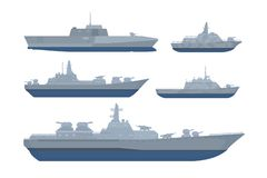 Paquet de collection d'ensemble de bateau de guerre avec le divers modèle et taille avec le style moderne et la couleur noire gri illustration stock