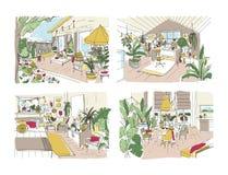 Paquet de croquis gratuits colorés de la maison ou de l'appartement meublé dans le style scandinave Ensemble de salles complèteme illustration de vecteur