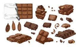 Paquet de dessins colorés d'entier et de cassé dans des barres de chocolat de morceaux et des graines de cacao Dessert doux savou illustration libre de droits