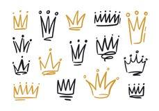 Paquet de dessins des couronnes ou des couronnes pour le roi ou la reine Symboles de monarchie, d'autorité souveraine et de main  illustration stock