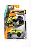 Paquet de jouet de modèle de voiture coulé sous pression par boîte d'allumettes Photos libres de droits