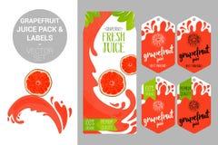 paquet de jus de pamplemousse et étiquettes organiques de labels de fruit Rétros autocollants colorés illustration stock