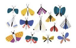Paquet de mites colorées lumineuses de bande dessinée d'isolement sur le fond blanc Placez des insectes volants nocturnes exotiqu illustration stock