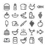 Paquet de nourriture de ligne icônes illustration libre de droits