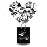 Paquet de panier pour faire des emplettes noir et blanc Photo stock