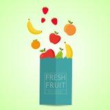 Paquet de papier avec le produit sain frais Nature 100% de fruit frais illustration stock