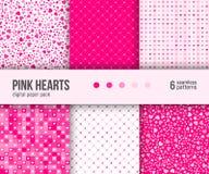 Paquet de papier de Digital, 6 modèles abstraits de coeur, fond de Valentine Day illustration stock