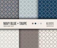 Paquet de papier de Digital, 6 modèles abstraits Modèle traditionnel de quatrefoil illustration libre de droits