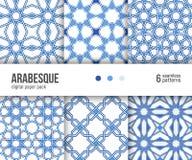 Paquet de papier de Digital, 6 modèles de carrelage d'arabesque, bleu de Delft de Néerlandais et blanc Image libre de droits