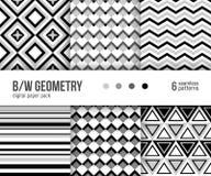 Paquet de papier de Digital, 6 modèles géométriques noirs et blancs abstraits Photo libre de droits