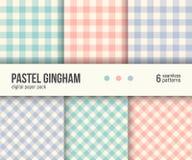 Paquet de papier de Digital, 6 modèles traditionnels de guingan, couleurs en pastel illustration libre de droits