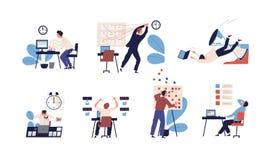 Paquet de personnes incapables d'organiser leurs tâches et ne pas les adapter dans le programme Placez des scènes avec inefficace illustration stock