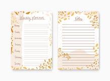 Paquet de planificateur et de liste hebdomadaires pour des calibres de notes décorés par les taches colorées de peinture Pages im illustration stock
