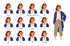 Paquet de positions mignonnes de lèvres ou de bouche du personnage féminin s pour différents bruits Ensemble d'animation de jeune illustration libre de droits