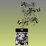 Paquet de sac pour faire des emplettes noir et blanc Images libres de droits