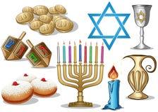 Paquet de symboles de Hanukkah Photos libres de droits