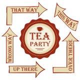 Paquet de thé poteau indicateur réglé de vecteur avec l'autocollant décorez le mariage ou la fête d'anniversaire dans le style Al illustration de vecteur