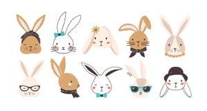 Paquet de visages drôles de lapin d'isolement sur le fond blanc Ensemble de lapins ou de lièvres mignons portant des lunettes, lu illustration libre de droits
