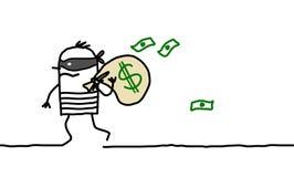 Paquet de voleur et de dollar Images libres de droits