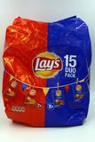 Paquet du paquet de duo de mélange de mini sacs des configurations puces naturelles et de paprika photographie stock