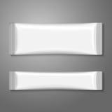 Paquet en plastique blanc vide de bâton pour le café, sucre, Image libre de droits