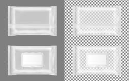 Paquet humide transparent de chiffons avec l'aileron illustration stock