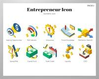 Paquet isométrique d'icônes d'entrepreneur illustration de vecteur