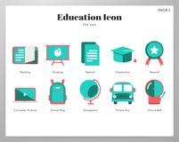 Paquet plat d'icônes d'éducation illustration stock