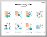 Paquet plat d'icônes d'analytics de données illustration stock